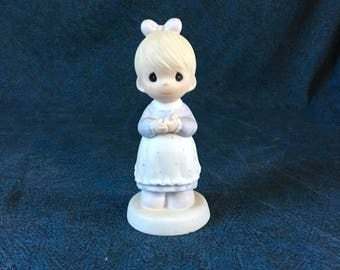 Vintage Precious Moments Figurine, The Good Lord Always Delivers 1989