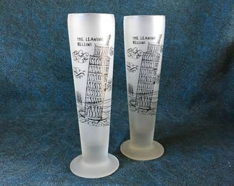Vintage Leaning Tower of Pisa Frosted Bellini Pilsner Glasses, Set of 2