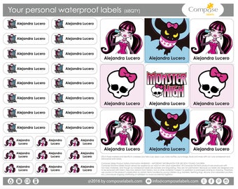 Monster High doll - Your personal waterproof labels (68 Qty) Free Shipping