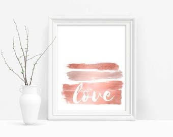 Rose Gold Love Printable, Typography Wall Art, Rose Gold Download Art, Gallery Wall Decor