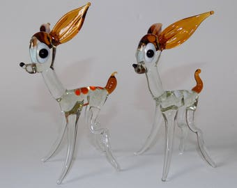 Vintage Pair Of Murano glass Deer / Fawns / Bambi