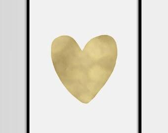 Heart print, Minimalistic, Modern print, Gold print, Quote art, Digital art, Printable art, Digital poster Instant Download 8x10