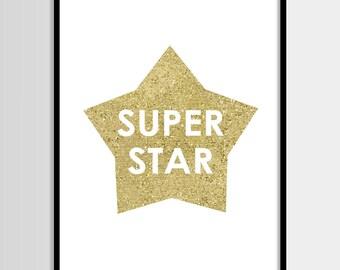 Super star print, Fashion print, Star print, Gold glitter, Modern wall art, Digital art, Printable art, Digital poster Instant Download 8x10