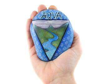 """Handpainted paperweight rock """"The Water"""" 
