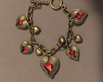 "Heart Charm Bracelet Antiqued Brass   7.25"""