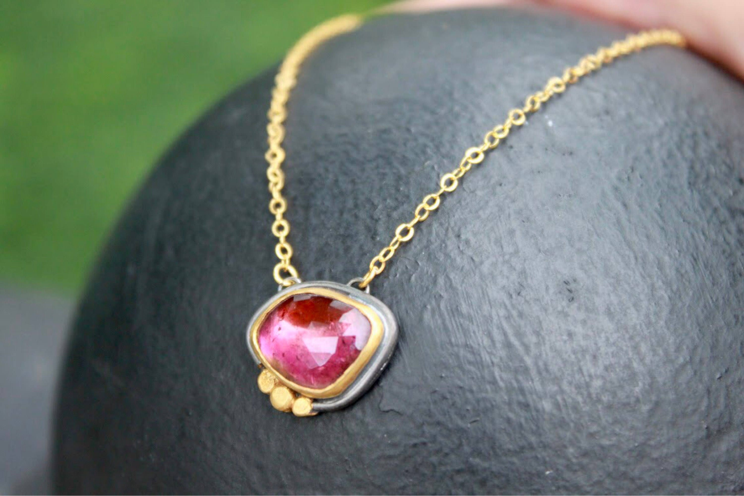 pink tourmaline pendant and white gold cushion necklace in cut tw diamond