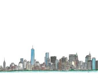 New York City Skyline - hand drawn, Instant Download