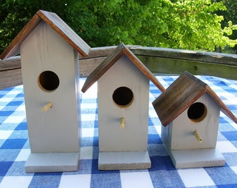 Cedar Birdhouses - Decorative, Light Smoky Gray, Set of 3 - Garden, Deck, Patio, Porch