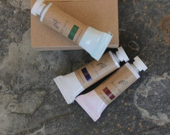 Limited edition. 3 tubes of handmade watercolour paints in a cardboard carton.