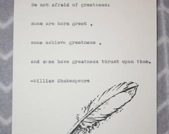 Vintage HandMade Shakespeare Quote Typed on Typewriter