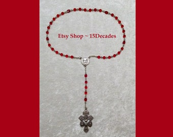 Holy Face of Jesus Chaplet - Red with Silver Details