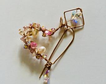 Swarovski Crystals and Pearl Heart Shawl Pin/Pendant