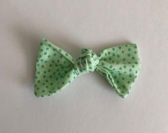 Knot Hair Bow-- Headband or Hair Tie--Green Polka Dots
