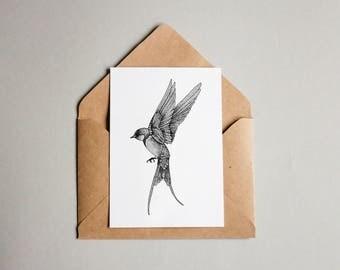 Swallow print A6 wall art, black and white, dotwork, interior wall art, nature print