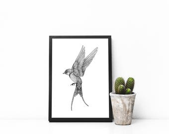 Swallow print A4 wall art, black and white, dotwork, interior wall art, nature print