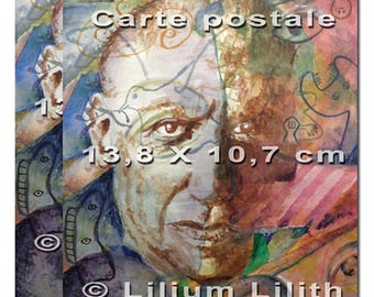 2 postcards. Portrait of Pablo Picasso