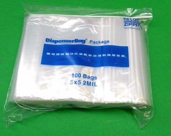 "100 5""X5"" Ziplock Bags 2mil Clear Poly Square Zip Lock Reclosable 5x5 Bag 2 Mil (8E)"