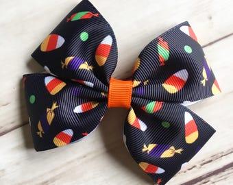 Halloween Candy Hair Bow | candy corn hair bow, Halloween hair bow, Halloween hair clip, candy print bow, 4 or 5 inch Halloween bows
