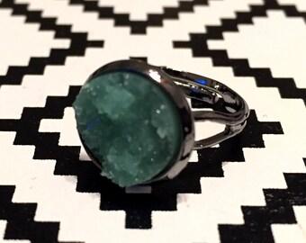 Mint Druzy Ring - Gunmetal