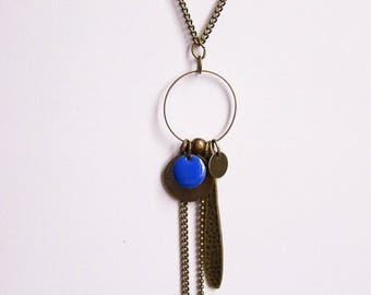 Necklace cobalt blue enameled sequin