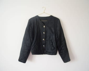 Vintage black quilted satin bomber jacket size small S