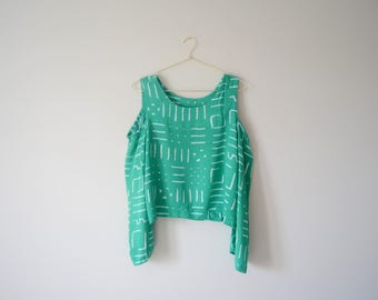 Vintage jade emerald green abstract print funky off shoulder long sleeved blouse
