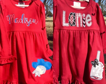 Personalized Ole Miss or Mississippi State Dress