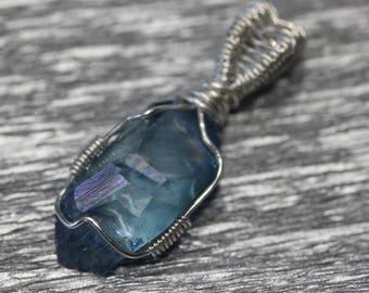 Aqua Aura pendant - silver wire wrapped crystal pendant