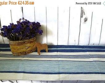 Vintage Woven Table Runner, Swedish Mid Century Table Linens, Blue White Striped Linen Blend Table Cloth, Scandinavian Textile Home  Decor