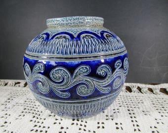 Gorgeous Vintage Studio Vase, Stoneware Vase, German Pottery Vase, Ceramic Vase, Blue Vase, Mid Century Vase Home Decor
