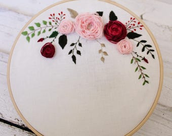 Hand embroidery, Pink and burgundy flowers, Add your text, Embroidery hoop, Floral embroidery, Unique Wall decor, Home decor, Mothers day