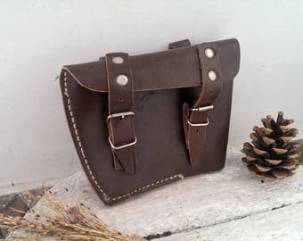 Vintage Genuine Leather Bag, Brown Real Leather Belt Bag, Ammo Pouch, Small Hunting Bag from 1970s
