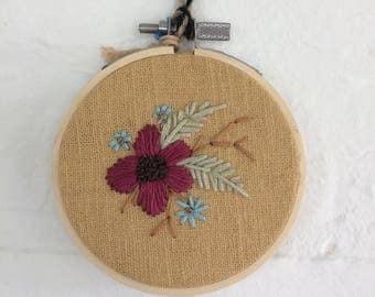 """3"""" Hoop art """"Floral on Ochre"""""""