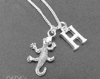 Lizard Necklace, Lizard Pendant, Reptile Necklace, Personalised Lizard Jewellery, Personalised Lizard Necklace, Lizard Gifts,
