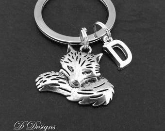Fox Keyring, Fox KeyChain, Animal Key Chain, Animal Keyring, Personalised Keychain, Fox Gifts, Fox Jewellery