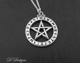 Pentagram Necklace, Sterling Silver Charm Necklace, Pagan Necklace, Pentagram Pendent, Silver Necklace