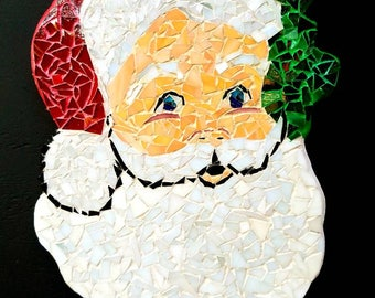 Santa Claus, stained glass, mosaic, Christmas, decor, glass Christmas decoration,
