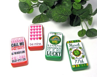 Valentine's Day Magnets - St Patrick's Day Magnets - Domino Magnets - Holiday Decoration - Red Hearts - Shamrock - Pot of Gold -Holiday Gift