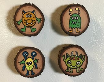 Monster Magnet Set, Stocking Stuffer, Gift Idea, Under 15, Wood Magnets, Secret Santa Gift