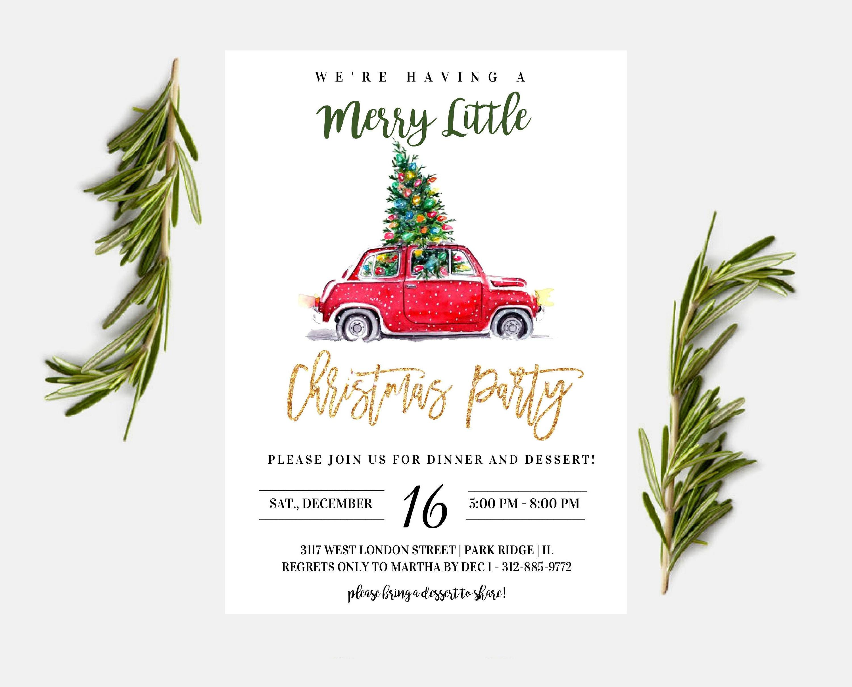 Printable Christmas Party Invitation - Vintage Car Retro - Holiday ...