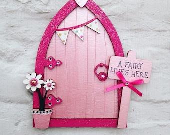 Magical Hand Painted Pink Fairy Door, Fairy Decoration, Flower Fairies Fairy House, Tooth Fairy Door, Minature Door
