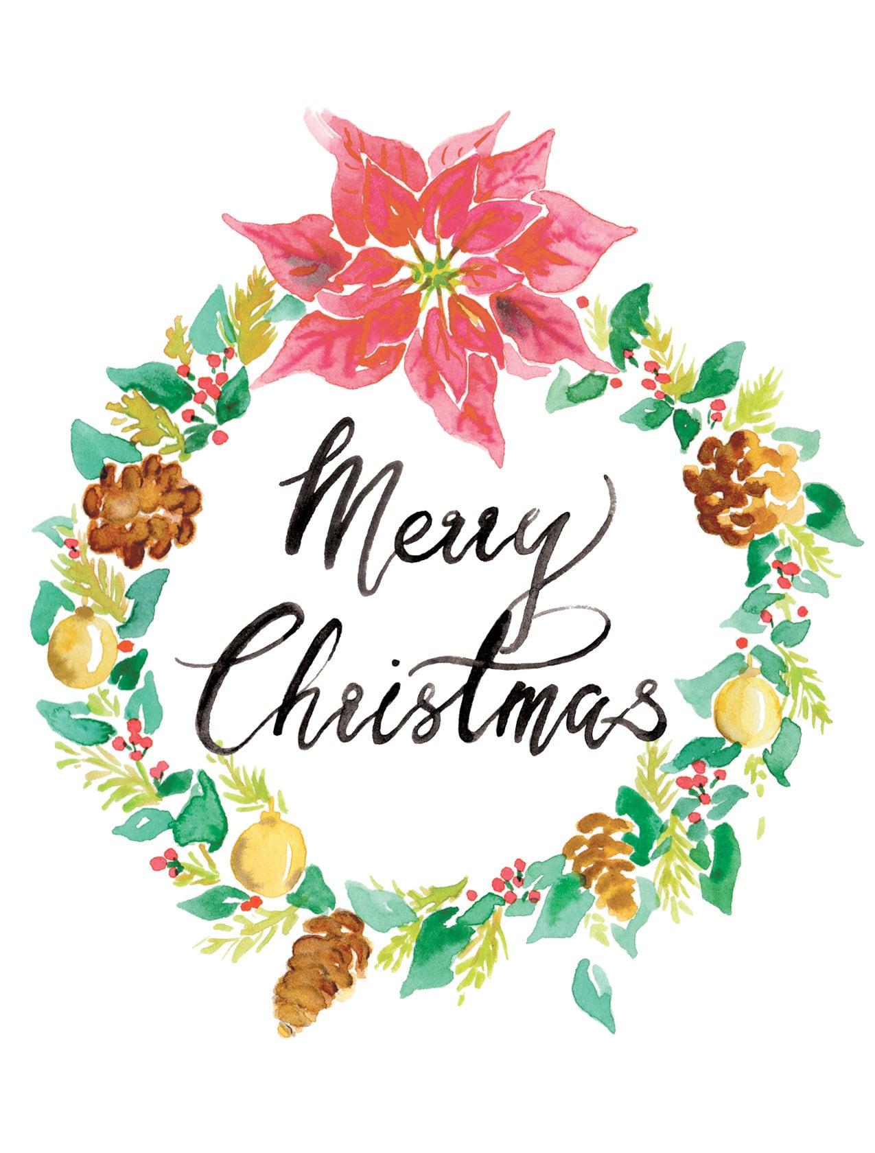 Merry christmas wreath card digital greeting card postcard merry christmas wreath card digital greeting card postcard watercolor poinsettia merry xmas seasons greetings kristyandbryce Choice Image