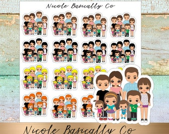 Family Planner Stickers- Couple With TWO OR MORE Kids