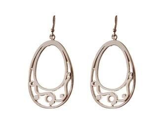 Ellipse silver scroll earrings