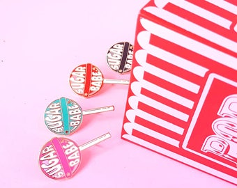 Lollipop enamel pin sugar babe mint |  Sweet candy lapel pin | Cute gift for her | Candy lollipop pin | Lolli enamel brooch pin blue