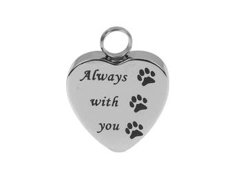 "Heart Shaped Pet Cremation Urn Jewelry Pendant for Ashes -- Includes FREE Stainless Steel Jewelry Chain (approx. 18"" length)"