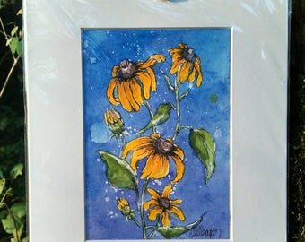 Matted Original Watercolor & Ink Painting of Yellow Coneflowers (Rudbeckia) on Blue and Purple