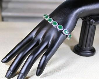 Emerald bracelet, Sterling silver bracelet, brilliant bracelet