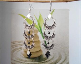 Black sequin Silver earrings