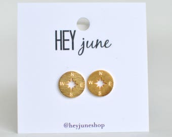 compass stud earrings, compass earrings, hiking earrings, camping earrings, summer earrings, gold compass earrings, silver compass earrings